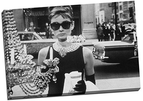 Audrey Hepburn Schwarz & Weiß Sonnenbrille Leinwanddruck Bild Wall Art Großer 76,2x 50,8cm