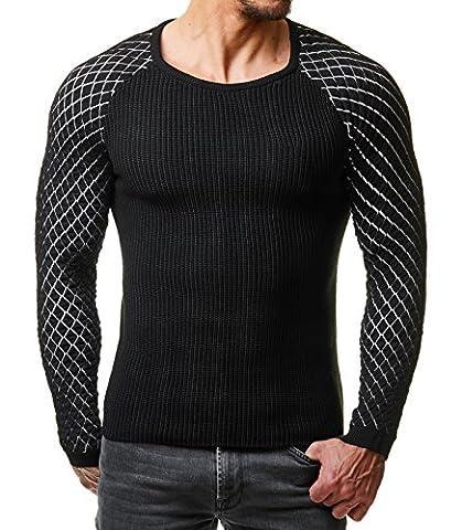 EightyFive Herren Winter Strick Pullover Slim Fit Rauten Netz Schwarz