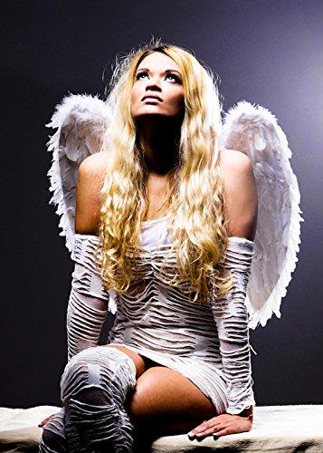 Feather White Dress Kostüm - Struts Fancy Dress Wunderschöne Engel-Medium White Feather Wings