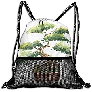 TKMSH Drawstring Backpacks Bags,Watercolor Style Bonsai Hand Drawn Japanese Tree Eastern Nature Inspired,5 Liter Capacity,Adjustable