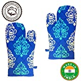 Tyche Cotton Heat Proof Microwave Oven Gloves (Pack Of 2Pcs) (Color May Vary) (Blue-White)