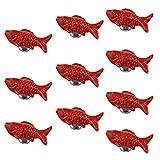 psmgoods® Europe Style poisson en céramique porte Boutons de tiroir Style vintage pour armoire commode Meuble de cuisine tirettes poignées rouge Lot de 10