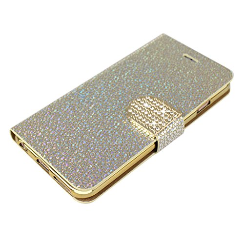 Schutzhülle für iPhone 6S Plus Leder, Hülle iPhone 6 Plus Glitzer, Glänzendes Mode Stein Muster, Moon mood® Bling Glitzer Ledertasche für Apple iPhone 6 Plus / iPhone 6S Plus (5.5 Zoll), PU Leder Hüll Gold