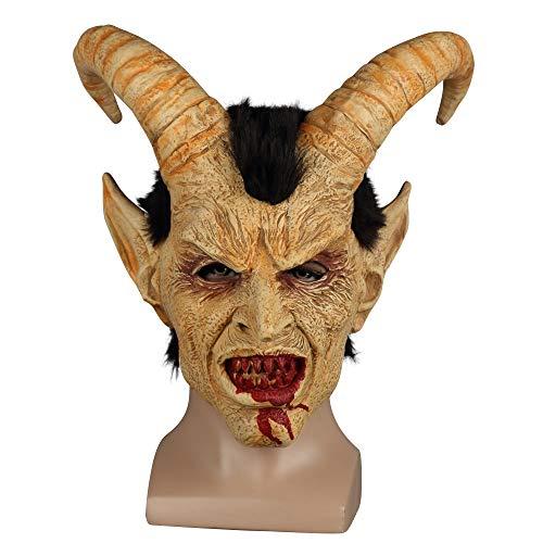 Scary Maske Dämon Teufel Luzifer Horn Latex Masken Halloween Film Cosplay Dekoration Festival Party Supply Requisiten Erwachsene schrecklich (Luzifer Kostüm Männer)