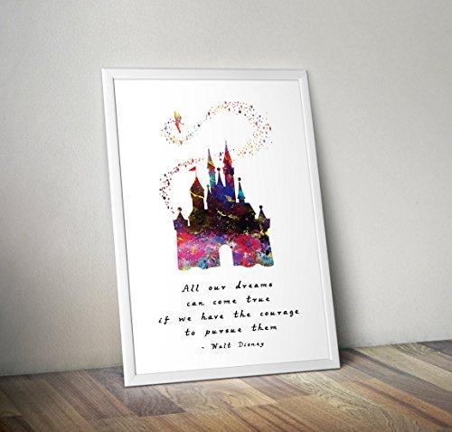 Aschenputtel inspiriert Aquarell Poster - Schloss - Zitat - Alternative TV/Movie Prints in verschiedenen Größen (Rahmen nicht im Lieferumfang enthalten)