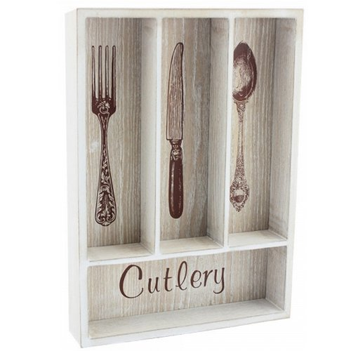 CUTLERY HOLDER RACK DRAWER TRAY COMPARTMENT UNIT LID KITCHEN UTENSIL ORGANISER (35CM NATURAL CUTLERY TRAY)