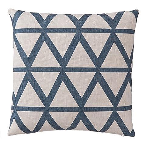 URBANARA Eling Cushion Cover - 100% Linen, geometric design - natural/denim blue, square 45x45 cm-decorative-pillow, cusion-cover, pillow-case, home-cusion