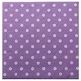 Servietten Spar-Pack (40 Stück) Lila Violett Weiß gepunktet / Punkte 25x25 cm Tischdeko