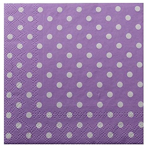 Value Pack (Pack of 40) Purple White Polka Dots/Spots, 25x