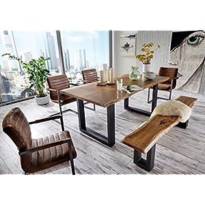 SAM® 6 TLG. Essgruppe Quentin, je 1x Baumkantentisch 180x90cm & -Bank 180x40 cm, Akazie-Holz, 4X Schwingstuhl Parzivo in Wildleder-Optik