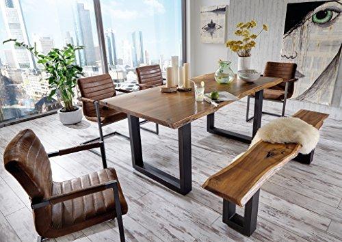 SAM® 6 tlg. Essgruppe Quentin, je 1x Baumkantentisch 180x90cm & -bank 180x40 cm, Akazie-Holz, 4x Schwingstuhl Parzivo in Wildleder-Optik (Esszimmer Set Bank)