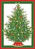 Caspari mit Engel mit Kerze und Baum Weihnachten Karten, Box mit 16Stück Bird Ornament Tree