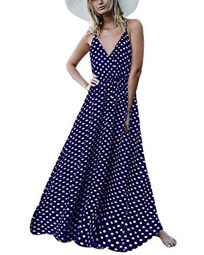 f17b61ad1 Auxo Damen Ärmellos V-Ausschnitt Dots Kleid Vintage Neckholder Dress Lange  Lose Strandkleider 03-