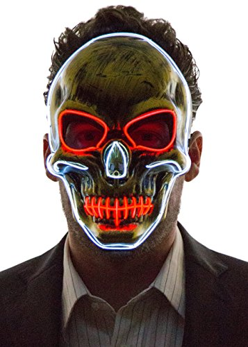 NEON NIGHTLIFE Herren Light Up Scary Tod Schädel-Maske, -