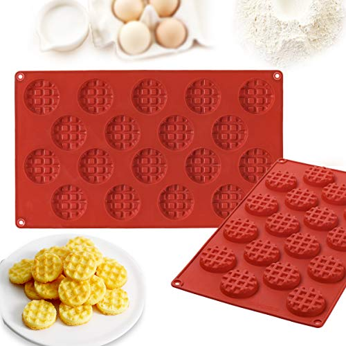 Janolia Backform, Silikon Kreisförmig Geschirr Waffelform für DIY Kekse, Waffeln, Schokolade, Eiswürfel Rot - Waffel Silikon-form