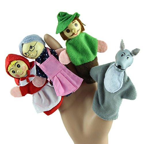 Tongshi Juguete de la marioneta del dedo Nuevo 4PCS / Set Caperucita Roja de Animales de Navidad juguetes educativos Cuentacuentos