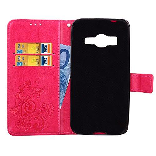 Doppelte magnetische Verschluss geprägte Blumen Premium PU-Leder Schutzhülle Taschenmappe Tasche Folio Stand Case mit Card Slots & Lanyard für Samsung Galaxy J1 Mini Prime ( Color : Rose ) Rose