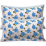 "Kuber Industries Blue Flower Design 2 Piece Cotton Pillow Cover - 17.3""x26""x2"", White"