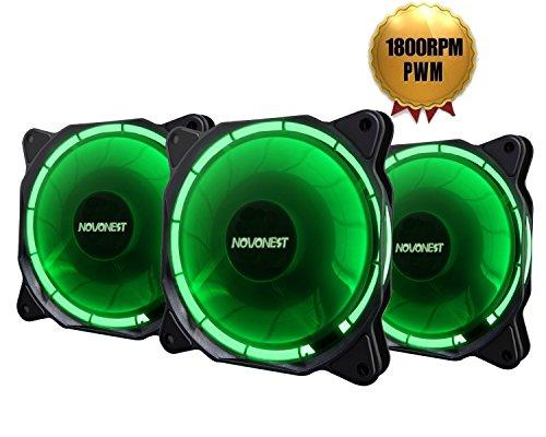novonest Gehäuselüfter 120-LED Quiet Edition 120mm High Airflow GRÜN LED Lüfter,4-pin,3er Set Gehäuselüfter