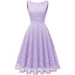 Bbonlinedress Vestido Corto Elegante Mujer De Encaje Boda Playa Fiesta Noche Cóctel Sin Mangas Lavender M