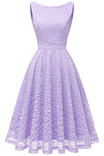 Bbonlinedress vestito donna in pizzo elegante cerimonia cocktail matrimonio senza manica lavender 2xl