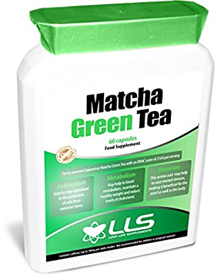 LLS Japanese Matcha Green Tea | ** BLACK FRIDAY PROMOTION - 20% OFF - USE CODE BLCKFR20 ** | Powerful Anti-Oxidant Which Protects The Cells From Oxidative Stress And Helps Maintain A Healthy Weight | 60 Capsules | Produced in the UK Under GMP Certificatio