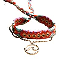 quanju cheer 2Pcs/Set Boho Women OM Wave Charm Colorful Handwoven Bracelet Female Accessories Anklet Jewelry For Your Girlfriend - 1