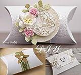 Absofine 100 Stk. Weiß Süßigkeiten Karton Hochzeit Gastgeschenke Geschenkboxen 7x9cm mit Juteschnur 60M für Süßigkeiten Schmuck Einladung Geschenk Party Fest - 5