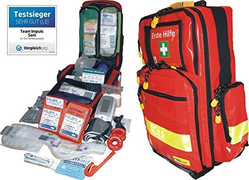 Preisvergleich Produktbild Erste Hilfe Notfallrucksack Betriebssanitäter mit autom. Blutdruckmessgerät & Stethoskop Plane mit gelben Reflexstreifen