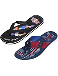 Indistar Men Flip Flop House Slipper And Sandal-Black/White/Blue- Pack Of 2 Pairs