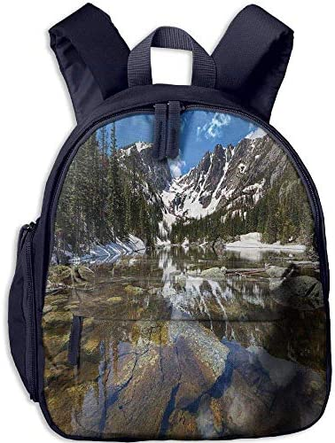 Teen's Boys'&Girls' Backpack Backpack Backpack   Pocket Lake House Decor Dream Mirroring Lake at The Mountain Park in West America River Snow Away Photo Full Green Brown Blue B07H292J9G | Une Bonne Conservation De La Chaleur