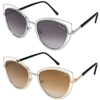 Silver Kartz Black & Brown Double Gradient Aviator Combo Sunglasses