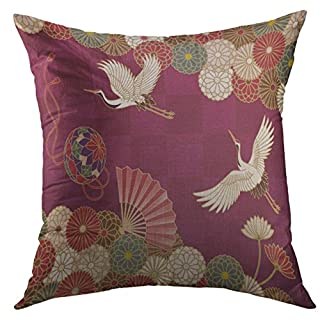 Mugod Decorative Throw Pillow Cover Case for Couch Sofa Bed Home Decor,Brown Animal Cranes Handball HFan Chrysanthemums Japanese Traditional Pattern Colorful Antique Pillow case 18x18 Inch