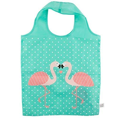 Tropical Pink Flamingo Green Foldable Shopping Bag Eco Friendly Fun Carry Food Bag -
