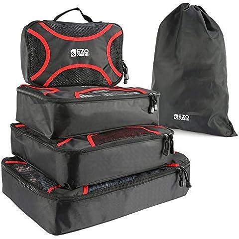 EZOWare 5x Fijado cubo de viaje Organizador de Viaje, Bolsas de Embalaje, Cubos de Embalaje, Cubos de Viaje, Negro