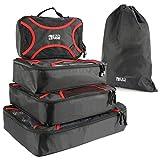 EZOWare-Pack-de-5-Tailles-X-Cubes-Emballage--filet-Organisateur-de-Valise-Sacs-de-Rangement-pour-Voyager-daffaire-Visite-Noir-4-Cubes-1-Sac