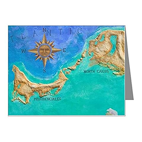 CafePress - Grace Bay: Mural Map Of Turk Note Cards (Pk Of 20) - Note Cards (Pk of 20) Glossy