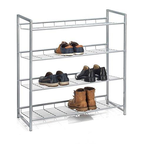 CARO-Möbel Schuhregal System Schuhständer Schuhablage mit 4 Fächern für ca. 16 Paar Schuhe, 80 cm breit, Metall Silber lackiert