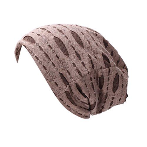 iShine Unisex Turban Elastisch Mütze Muslimin Kopftuch Herren Elegant Turban mit Stil Hip Hop Hut Frauen für Haarverlust Krebs Chimio Kaffeebraun