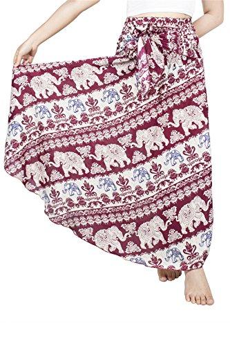 Lofbaz Damen Bohemien Hüfte Langer Rock Süße Hippie Style Blumen - Elephant 21 Rot - OS