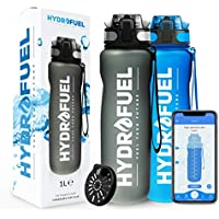 HydroFuel™ Large Sports Water Bottle 1 Litre   FREE Motivational Reminder To Hydrate APP + Times To Drink Custom Reminders   Leak Proof ECO Friendly & BPA Free + Fruit Infuser Filter For Gym, Hiking