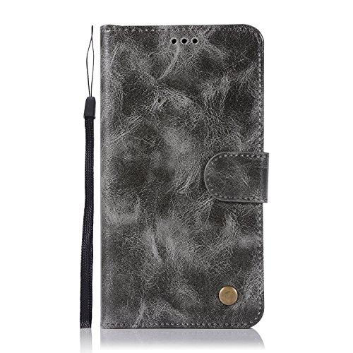 Chreey Lenovo Vibe K4 Note/A7010/Vibe X3 Lite Hülle, Premium Handyhülle Tasche Leder Flip Case Brieftasche Etui Schutzhülle Ledertasche, Grau