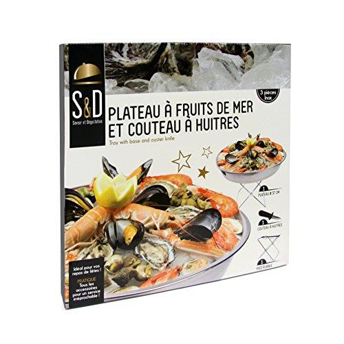 Saveur & Dégustation KU6102 Plateau avec Support + Couteau à Huitres Acier Inoxydable 37,5 x 37,5 x 16 cm