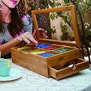 LeKing--Boîte à thé en Bambou, boîte en Bois de Bambou en Bois de Toit ouvrant de boîte de Stockage de thé, boîte de Stockage de réservoir de thé?Boite a The?Boite a The en Bois