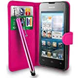HUAWEI ASCEND Y300 HOT PINK LEATHER WALLET FLIP CASE COVER POUCH + FREE SCREEN PROTECTOR & TOUCH STYLUS PEN