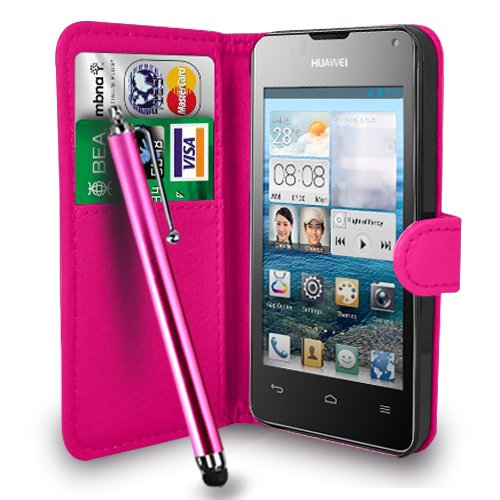 huawei-ascend-y300-hot-pink-leather-wallet-flip-case-cover-pouch-free-screen-protector-touch-stylus-