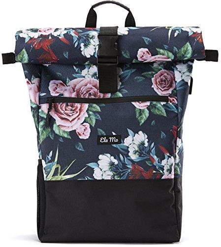 Ela Mo's Rucksack Damen | Schön und Durchdacht | für Uni Reisen Freizeit Job | mit Laptopfach & Anti Diebstahl Tasche | Blumen -