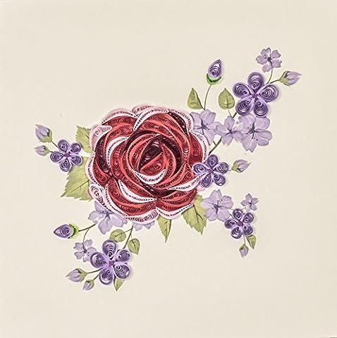 origamo qu033–Carte de vœux, Rose Rouge et Violette, filigrane de papier origami,
