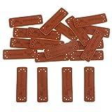 IPOTCH 20x Handmade Labels Etiketten Tags PU Leder Annäher Labels Hand Nähen Knopf DIY Basteln für Kleidung - Stil 2