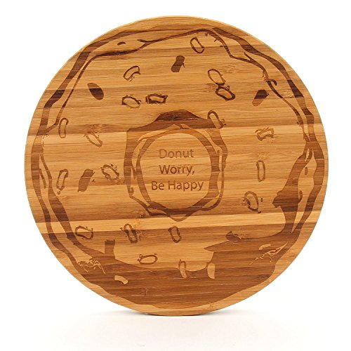 The Cutting Board Company Donut Worry Be Happy Schneidebrett, rund, bernsteinfarben (Mineralöl-schneidebrett)